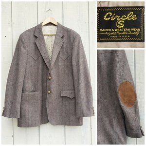 Vintage Circle J Wool Leather Blazer Jacket 46 L